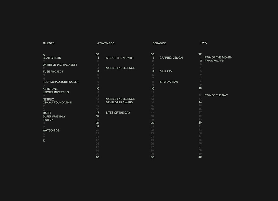 Black background with some list of clients and awards