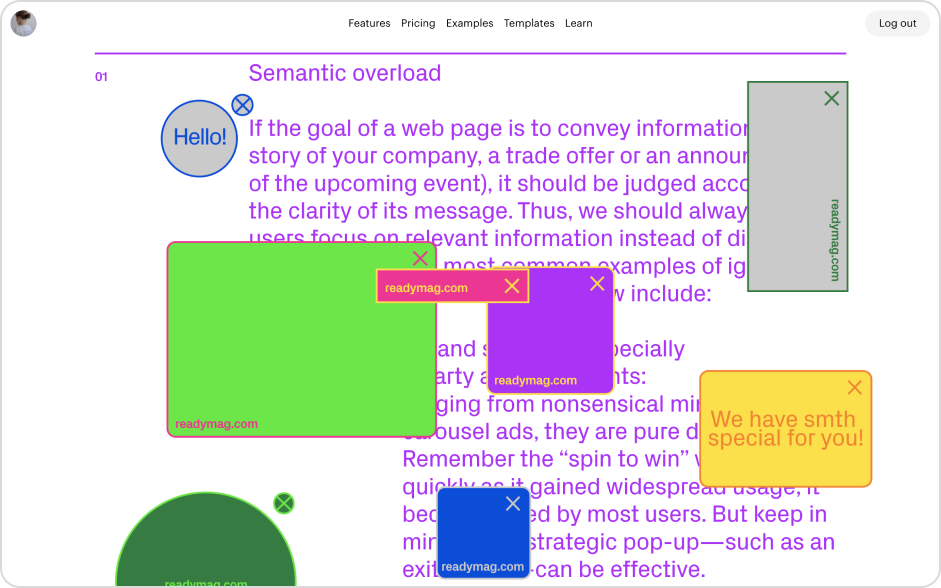 Text covered with colored shapes that represent links