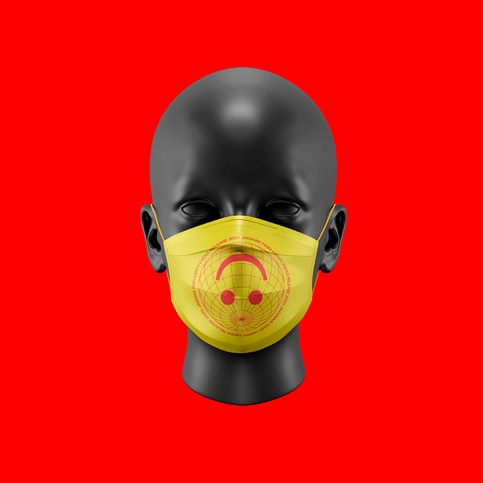 Yellow mouth mask with smily icon put on a fake head in red background