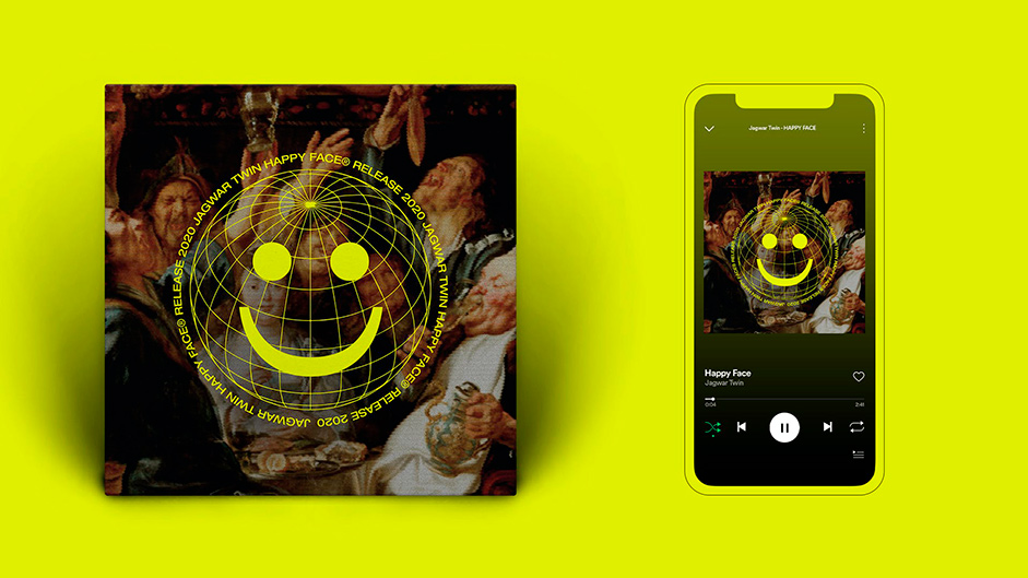 Art cover for the album and a mobile mockup of a playlist