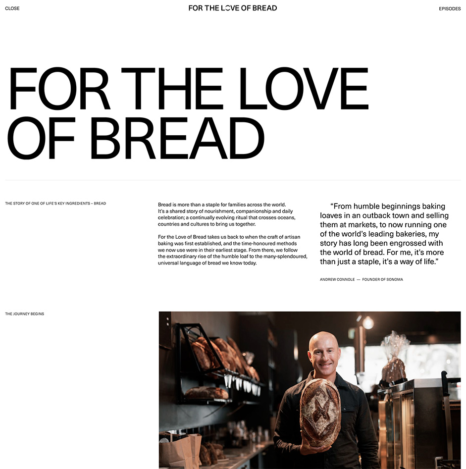 About page with a Title, text description of the bread and a photo of a man with a bread in his hand