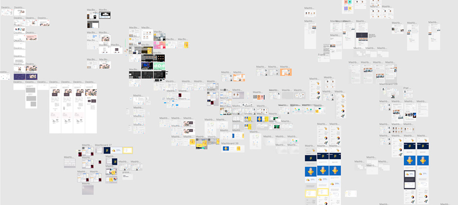 Figma wireframes of design iterations