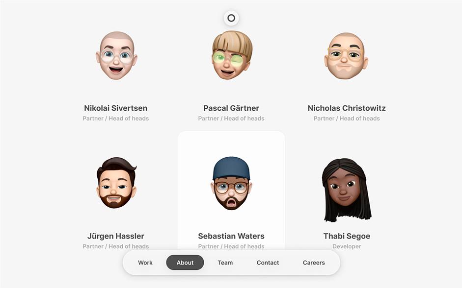 6 Apple Memojis representing the team