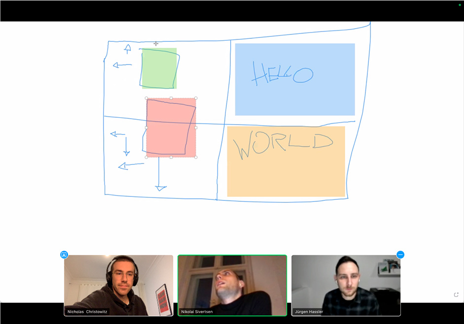 Screenshot of 3 team members on their video call with the shared notes