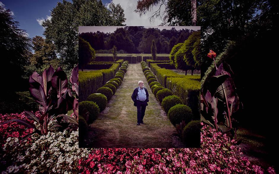 Kryzsztof Penderecki in a garden