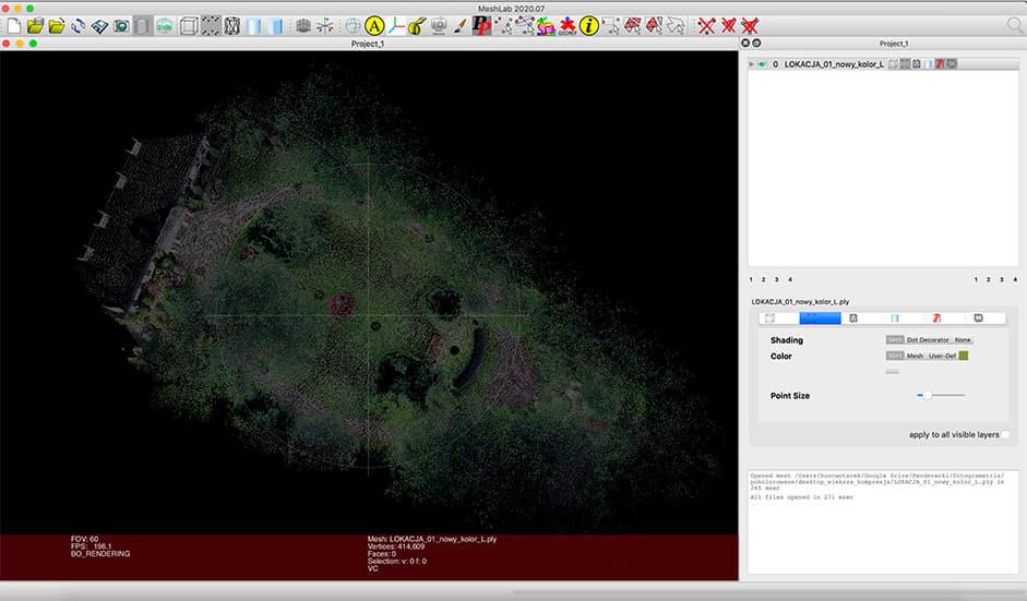 Aereal scene of the garden in Meshlab app