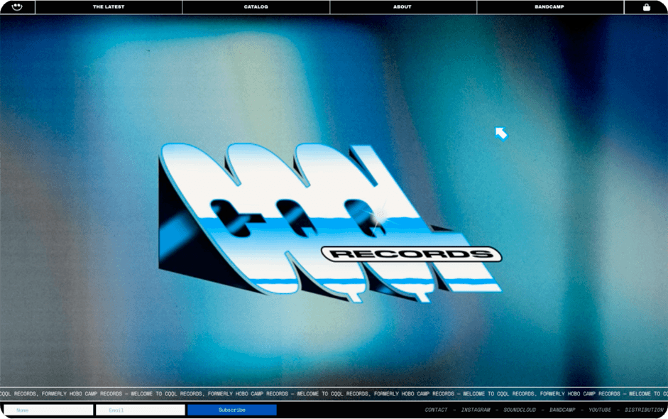 Background with blur effect and cool old school logo of cqql records