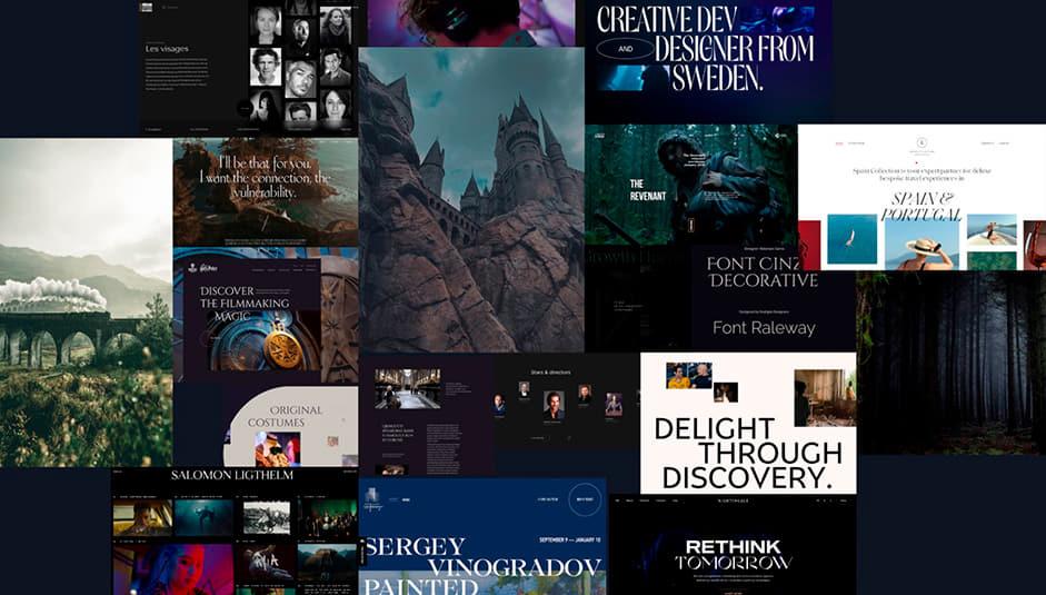 Moodboard with screenshots of websites