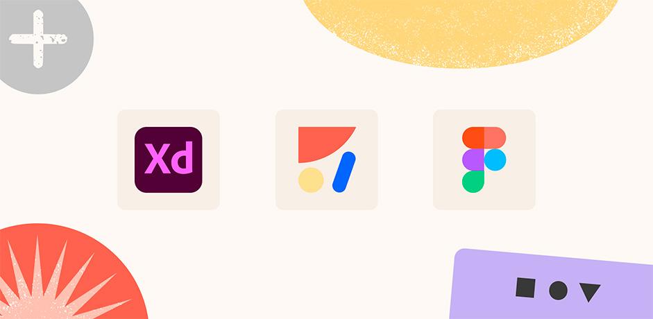 Adobe XD, Anima and Figma logos