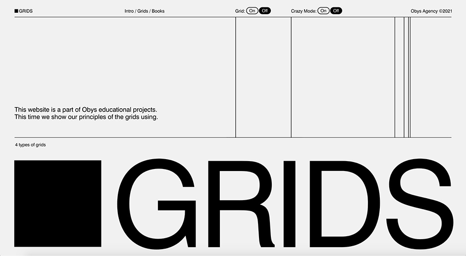 Desktop Homepage for Grids by Obys