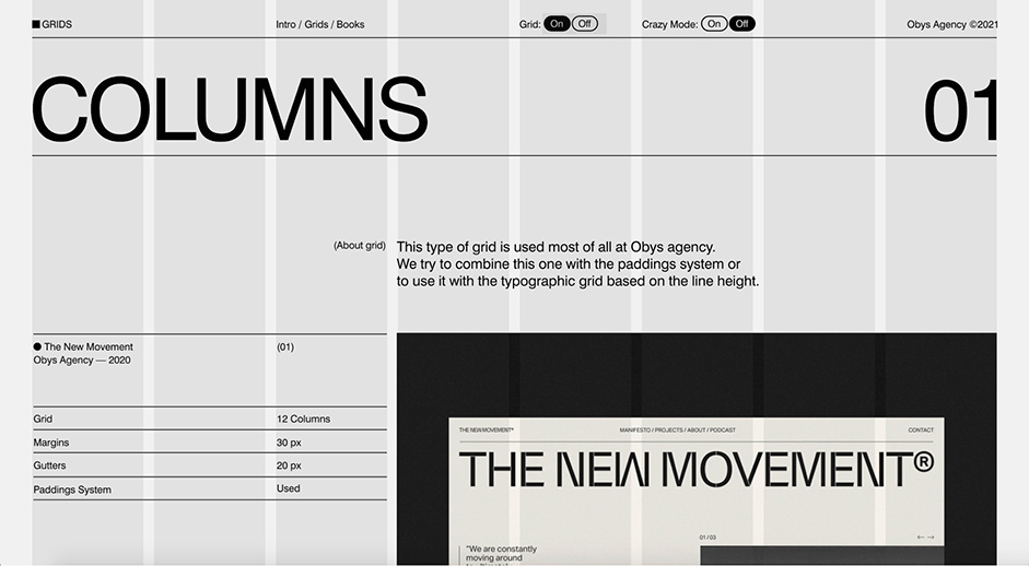 Columns detail page for Grids by Obys