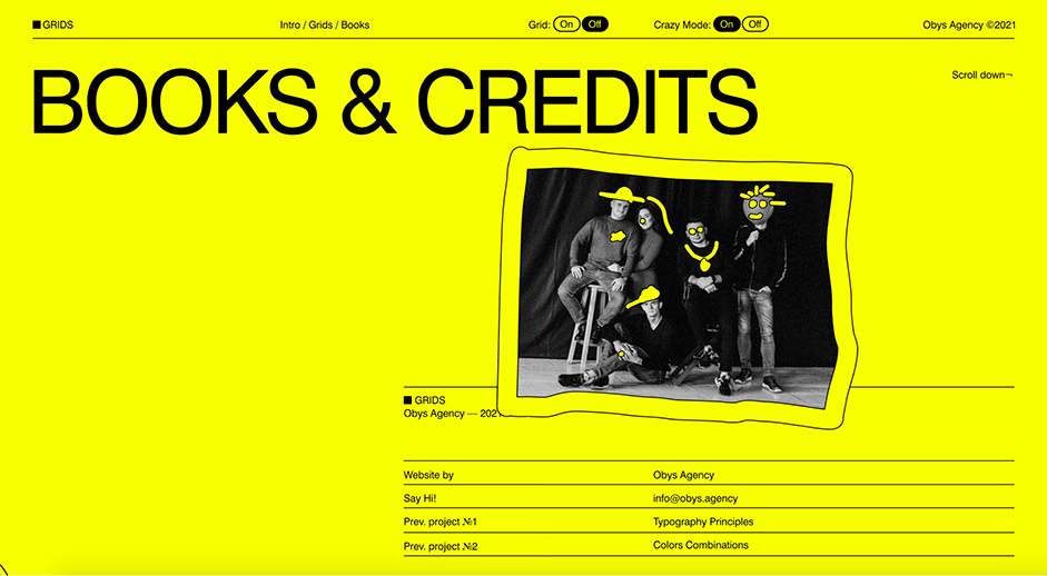 Credits page for Grids by Obys