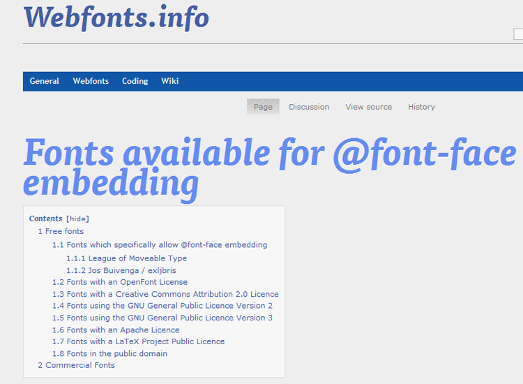 Fonts available for @font-face embedding