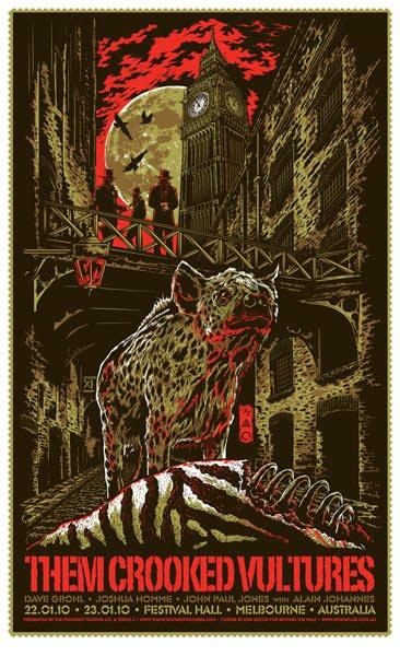 Show artist: Them Crooked Vultures | Poster designer:  Ken Taylor