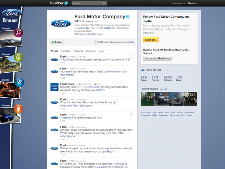 Great twitter background designs for Ford motor company awards