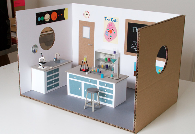 A miniature science laboratory created for Rubbish Magazine