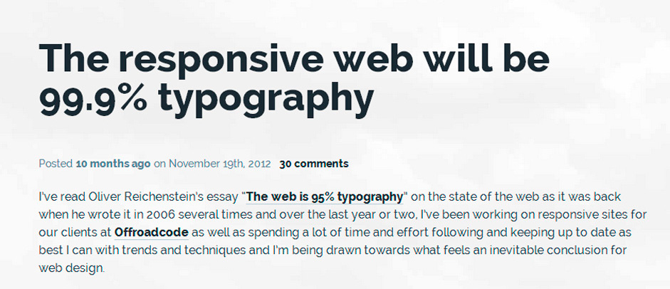 The Responsive web will be 99.9% Typography