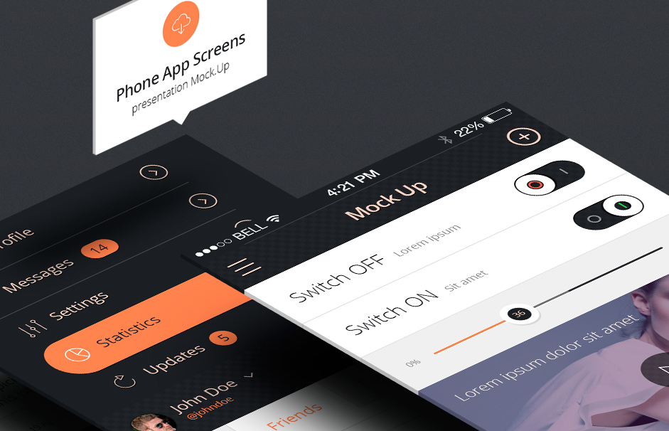 Perspective App Screen Mockups