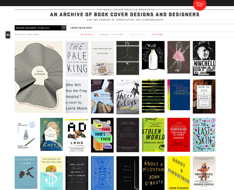 Book Cover Archive : Harmonious relations between past and present in web design