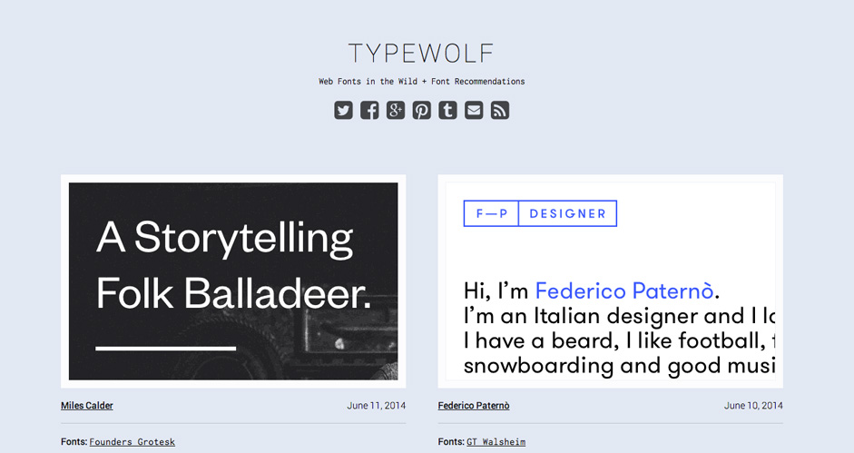 Typewolf - Web fonts in the wild