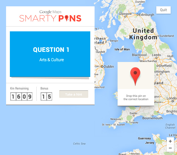 a google maps trivia game smarty pins asks you questions from six different categories including featured topics arts and culture science and geography
