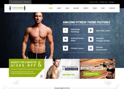 Fitness Zone Sports, Health, Gym & Fitness Theme