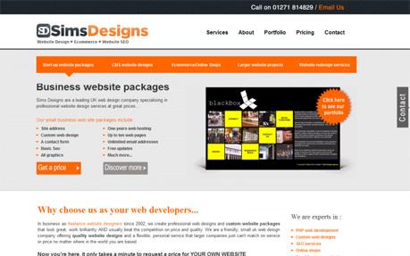 Sims Designs, website designers