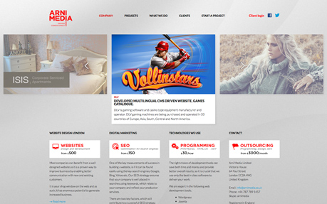 Arni Media - website design