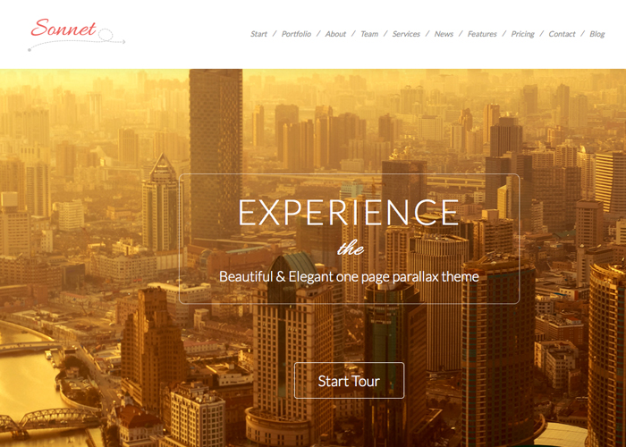 Sonnet - Flat One Page WP Theme