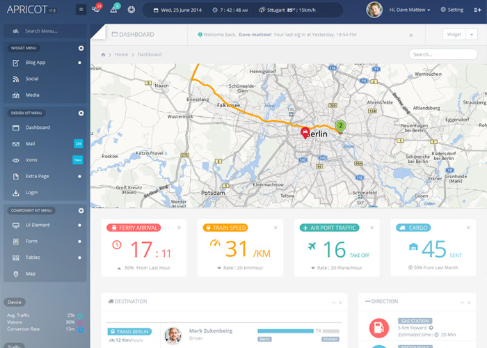 Apricot Navigation Admin Dashboard Template