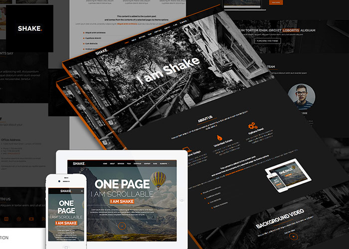Shake One Page Wordpress Theme