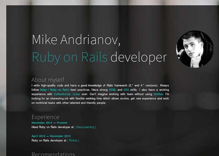 Mike Andrianov - Ruby on Rails developer