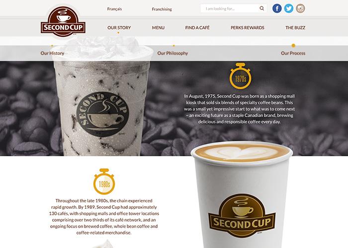 Second Cup's responsive website