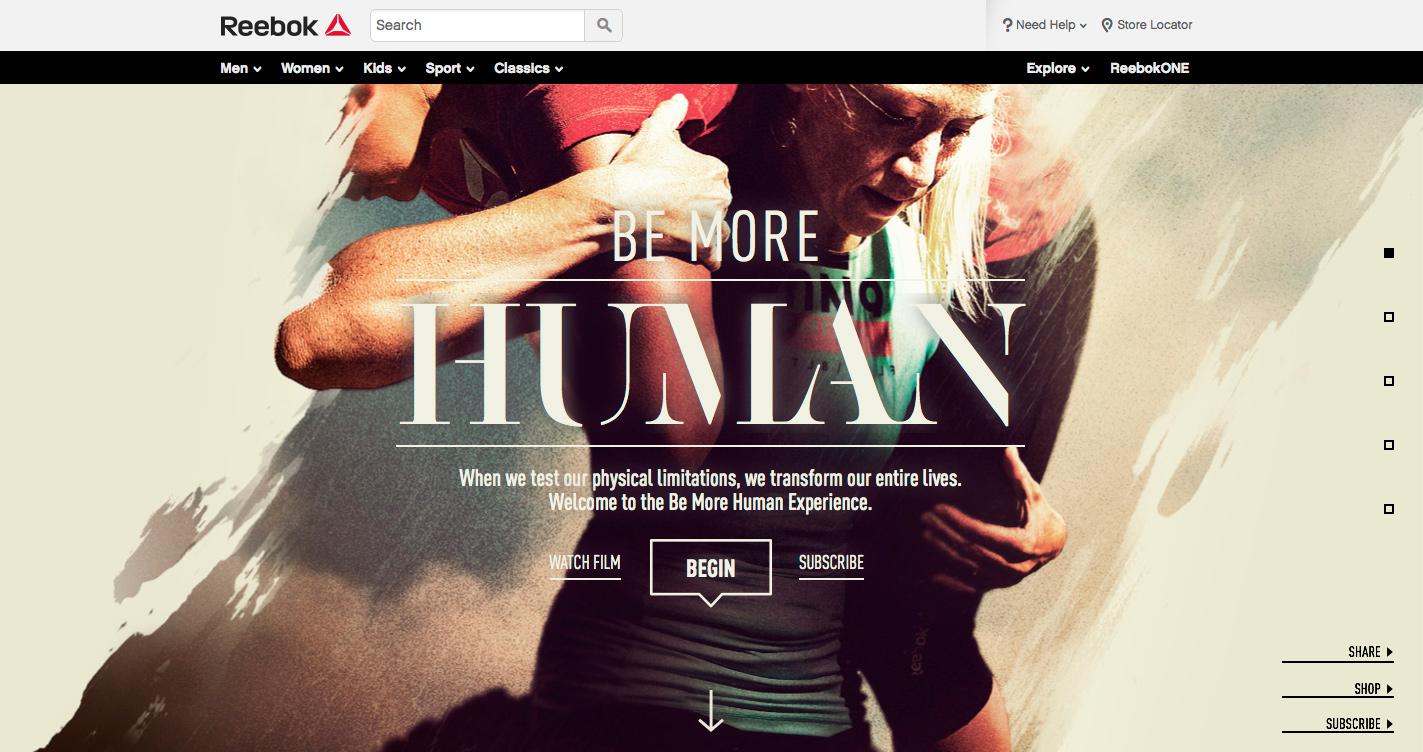 Reebok: Be More Human Experience Awwwards SOTD