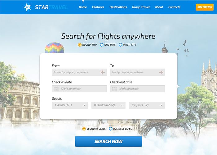 StarTravel - Online Booking/Travel Responsive HTML - Awwwards Nominee
