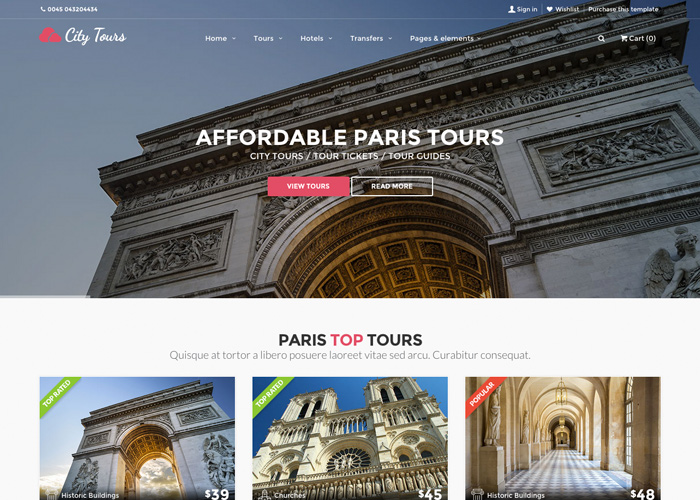 CityTours - City Tours, Tour Tickets and Guides template