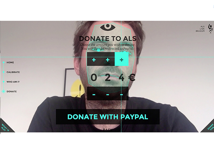 Eye click donation for ALS