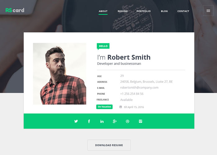 Material Design Resume/CV U0026 Portfolio  Resume Website Design