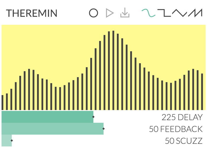 Theremin - Play your own musical synth with delay, feedback & scuzz