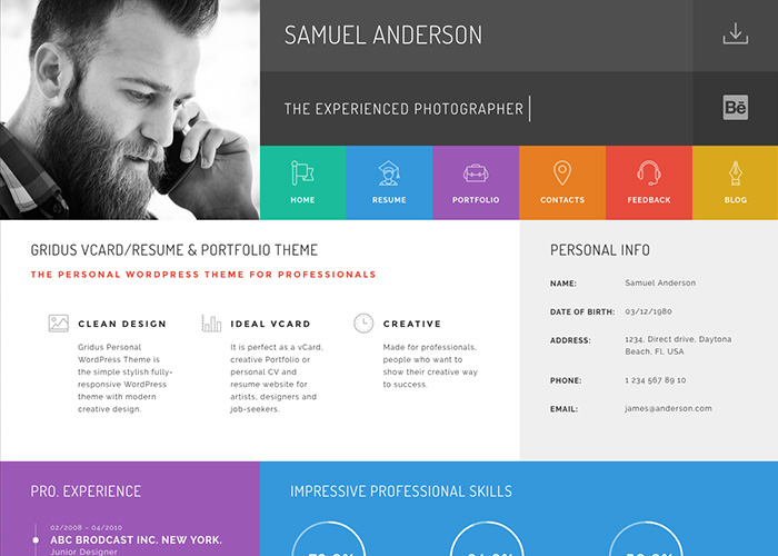 gridus vcard  u0026 cv resume wordpress theme