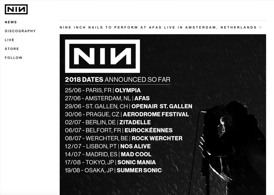 Nine Inch Nails - Awwwards Nominee