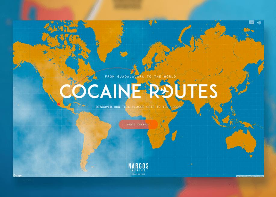 Narcos:Mexico - Cocaine Routes - Awwwards SOTD