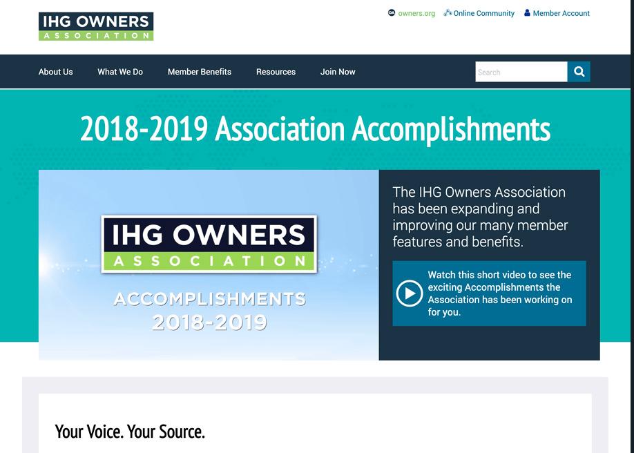 IHG Owners Association - Awwwards Nominee