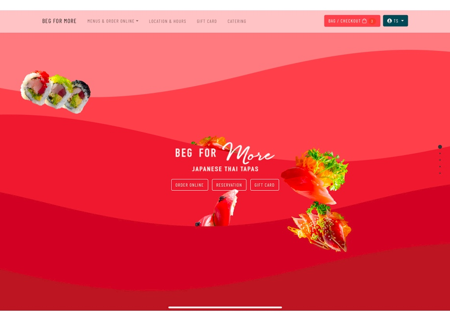 Beg for more Thai Sushi - Awwwards Nominee